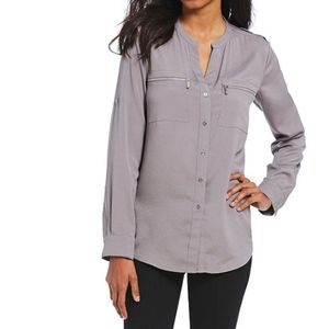 Like New Calvin Klein Gray Front-Zip Button Down